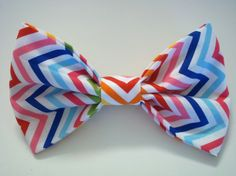 Bright Zigzag Stripes Fabric Hair Bow  large by ApplesAndBows, $6.00