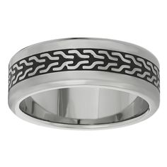 Metro Jewelry Stainless Steel Ring Black IP Accent