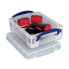 Really Useful Boxes - Plastic Storage Box - 1.75 Liters, 3 H x 7 W x 9 12 D, Clear by Office Depot