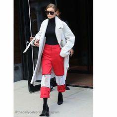 Celebrity Style | 海外セレブ最新ファッション情報 : 【ジジ・ハディッド】スタイリッシュな赤!モード全開で颯爽とお仕事へ!