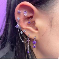 Ear Jewelry, Cute Jewelry, Body Jewelry, Jewelery, Jewelry Accessories, Purple Jewelry, Pretty Ear Piercings, Ear Peircings, Different Ear Piercings