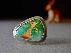 Nevada Boulder Turquoise Ring in Sterling Silver with 14kt Gold  $185.00 USD  betsybensen