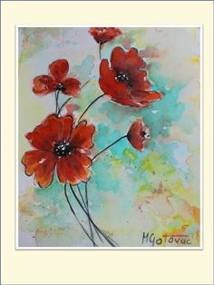 Poppies  Original Watercolor Painting by mgotovac on Etsy, $40.00