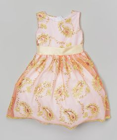 Another great find on #zulily! Pink & Gold Paisley Overlay Dress - Infant, Toddler & Girls #zulilyfinds