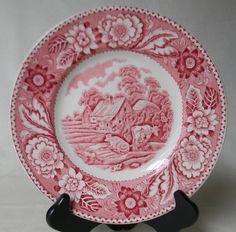 Vintage Red Transferware Plate Woman by EnglishTransferware