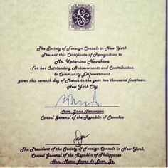 The Society of Foreign Consuls in New York Certificate of Recognition