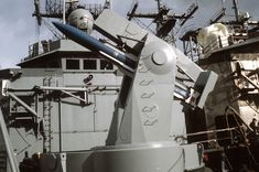 A RIM-66 SM-1 missile in the Mark 13 launcher on the USS DeWert FFG-45.