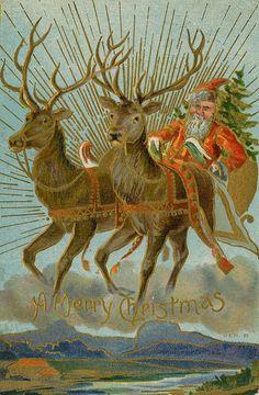 1909 Santa and reindeer Christmas postcard