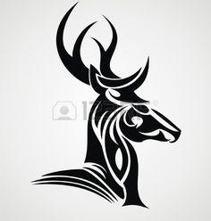tribal stag tattoo - Google Search