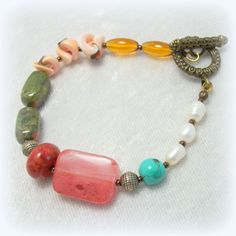 Gypsy Boho Beaded Bracelet - Pearl Coral Agate Shell Turquoise Semi-precious Stone on Etsy, $38.00