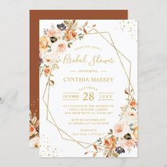 A Beautiful Autumn Gold Floral Invitation Suite, with items from invitation to RSVP cards, Thank You Cards, Table Cards, Address Labels, Sign Posters, and more. #bridalshower Floral Invitation, Invitation Suite, Invitation Design, Autumn Wedding, Elegant Wedding, Bridal Shower Invitations, Custom Invitations, Geometric Wedding, Table Cards