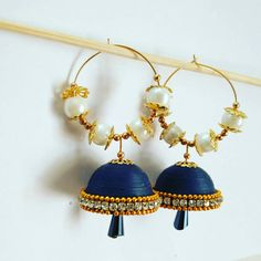 Indian jhumkas made from blue colored quilling by pHDesignsArt