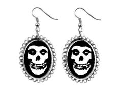 misfits band skull Earrings silver plated oval pendant charm