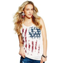 mark: All-American Style Tank $20  Keep me Dangling earrings $18 and Double Take Bracelets $24
