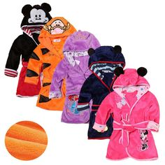 This item: Kids Robes Flannel Lovely Animals Bathrobe Long Sleeve Mickey Mouse, Kids Robes, Boys And Girls Clothes, Children Clothes, Children Wear, Young Children, Kids Bath, Cartoon Kids, Purple And Black