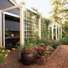 A trellis fence or screen is the perfect way to turn your backyard into a private escape. Whether wood or metal, a garden trellis creates the perfect backdrop for outdoor living spaces. Browse these trellis plans to find beautiful design and DIY ideas. Arbors Trellis, Diy Trellis, Garden Trellis, Deck Trellis Ideas, Cheap Trellis, Wisteria Trellis, Tomato Trellis, Rose Trellis, Cucumber Trellis