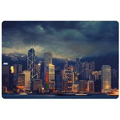 Cityscape Pet Mats for Food and Water by Ambesonne, Hong Kong Cityscape Stormy Weather Dark Cloudy Sky Waterfront Port Dramatic View, Rectangle Non-Slip Rubber Mat for Dogs and Cats, Navy Gold -- Check out this great product. (This is an affiliate link) #Dogs