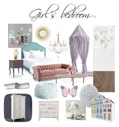 girl's bedroom by veryvlada on Polyvore featuring interior, interiors, interior design, дом, home decor, interior decorating, Redford House, Frontgate, PBteen and Barclay Butera