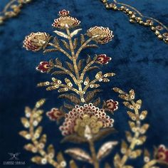 Embroidery Wedding Dress Haute Couture Fashion Details Ideas For 2019 Zardosi Embroidery, Hand Work Embroidery, Couture Embroidery, Embroidery Suits, Indian Embroidery, Gold Embroidery, Embroidery Fashion, Hand Embroidery Designs, Embroidery Stitches