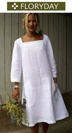Solid 3/4 sleeves midi A-line dress, white dress, stylish, fashionable.