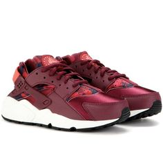 Nike Nike Air Huarache Sneakers ($141) ? liked on Polyvore featuring shoes, sneakers, red, nike footwear, nike trainers, nike sneakers, red shoes and red ...