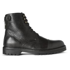 Belstaff Barrington Pebble-Grain Leather Lace-Up Boots ($795) ❤ liked on Polyvore featuring men's fashion, men's shoes, men's boots, mens black lace up boots, mens black boots, mens leather lace up shoes, mens lace up boots and mens lace up shoes