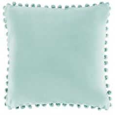 Bobby duck egg blue pom pom cushion - 100% cotton - Cotton pom pom fringe - Poly fill pad - Size 45cm x 45cm - Hand wash with care so as not to damage the pom pom trim - Unsuitable for a machine wash - Matching items available
