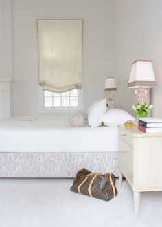 Blumenfeld Interiors - bedrooms - monochromatic bedroom, feminine bedroom, off-white walls, off-white wall color, wall-to-wall carpet, cream...