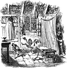 """Photograph:The illustration by George Cruikshank, a prominent English caricaturist, for """"The Elves and the Shoemaker"""" is among the most famous of his etchings for the Grimm fairy tales."""