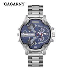 Brand Watch Men Quartz Mens Watches Stainless Steel Watchband Dual Time Zones…