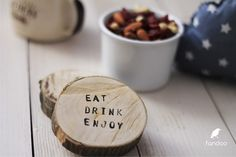 "Great gift for cooks. Home accessories – Wooden pad ""Eat, Drink, Enjoy"" (2pcs) – a unique product by fandoo via en.DaWanda.com"