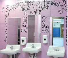 Girl S Bathroom School Ideas School Bathroom School Murals Bathroom Mural, Bathroom Stall, Bathroom Ideas, Restroom Ideas, Bathroom Makeovers, Bathroom Pictures, Bathroom Signs, Bathroom Inspiration, School Hallways