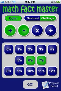 Math Fact Master - Addition Subtraction Multiplication Division - Fun flashcards and drills app ($0.99) a flexible solution that a grade school child can easily navigate and that is robust enough to grow with your child as they grow their math knowledge.     Overview –  ★ FLASHCARD mode (practice) – Allows children to practice specific number sets and operators in the proven learning style of flash cards    ★ CHALLENGE mode (exam) – Lets children test what they have learned