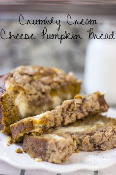 Moist pumpkin bread with a cream cheese center and a crumbly, streusel topping. A great autumn treat!