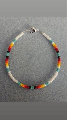 Ombre Anklet Silver /& White Dainty Beaded Friendship Bracelet Necklace Details about  /Blue