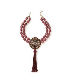 Double Strand Rhodonite Nugget Necklace