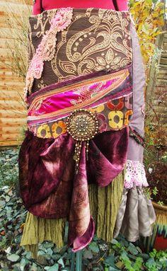 Edgy Ethnic Skirt Bohemian Gypsy Shabby Chic by TextileFineArt