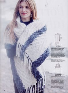 Suuri Käsityö 11-12/2014. Knitted shawl by Pia Heilä for Lankava Oy. http://www.lankava.fi/epages/esito.sf/fi_FI/?ObjectPath=/Shops/esito/Products/%22Ohje%20Kangasneuleshaali%22