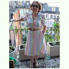 Vintage Shirt Dress in sweet shop stripes! Sew Over It, Dress Sewing, Shirtdress, Dressmaking, Sewing Patterns, Wrap Dress, Stripes, Sweet, Vintage