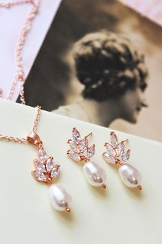 054f2f5eb Bridal Earrings And Necklace set Art Deco Earrings Pearl Wedding Earrings,  Bridesmaid Jewelry Sets,