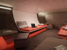Nike Helps Design a Swank Jet for Traveling Sports Teams | A lounge located below the seating zone allows players to celebrate victories or commiserate over failures in a social setting.  Teague  | WIRED.com
