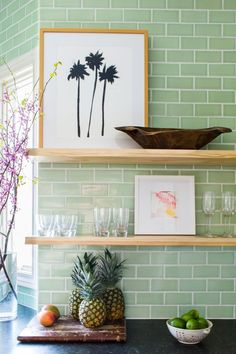 The kitchen of interior designer Jana Bek reaches new heights with a counter-to-ceiling tile backsplash in Kiwi, its fresh hue infusing plenty of California-cool flair. Fireclay Tile, Jar Art, Brick Tiles, Kitchen Installation, California Cool, Handmade Tiles, Cow Hide Rug, Ginger Jars, Contemporary Bathrooms