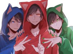 Osomatsu-san older brothers in cat hoods