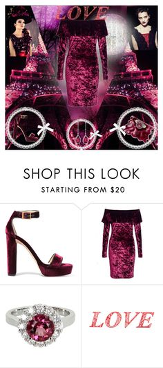 """Velvet Viola"" by caramelpz ❤ liked on Polyvore featuring Jimmy Choo, Dorothy Perkins, Christopher Kane, Vintage and WALL"