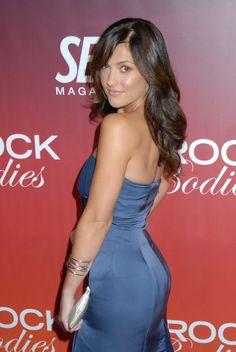 Minka Kelly booty in a blue strapless dress