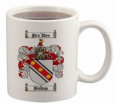 $15.99 Bishop Coat of Arms Mug / Family Crest 11 ounce cup