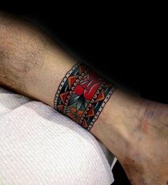 Ankle Band Old School Traditional Flower Tattoo Design On Man