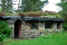 Stone shed with green roof