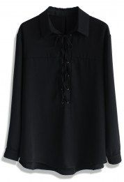 Simplicity Lace-up Shirt in Black