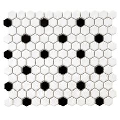 "Found it at AllModern - Retro 0.875"" x 0.875"" Hex Porcelain Mosaic Tile in White with Black Dots"